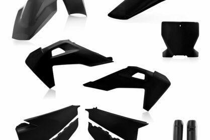 Plastikteile für deine Husqvarna FC und TC in schwarz, bestehend aus Frontkotflügel, Heckkotflügel, Tankspoiler, Seitenteilen, Front-Tafel und Gabelschoner