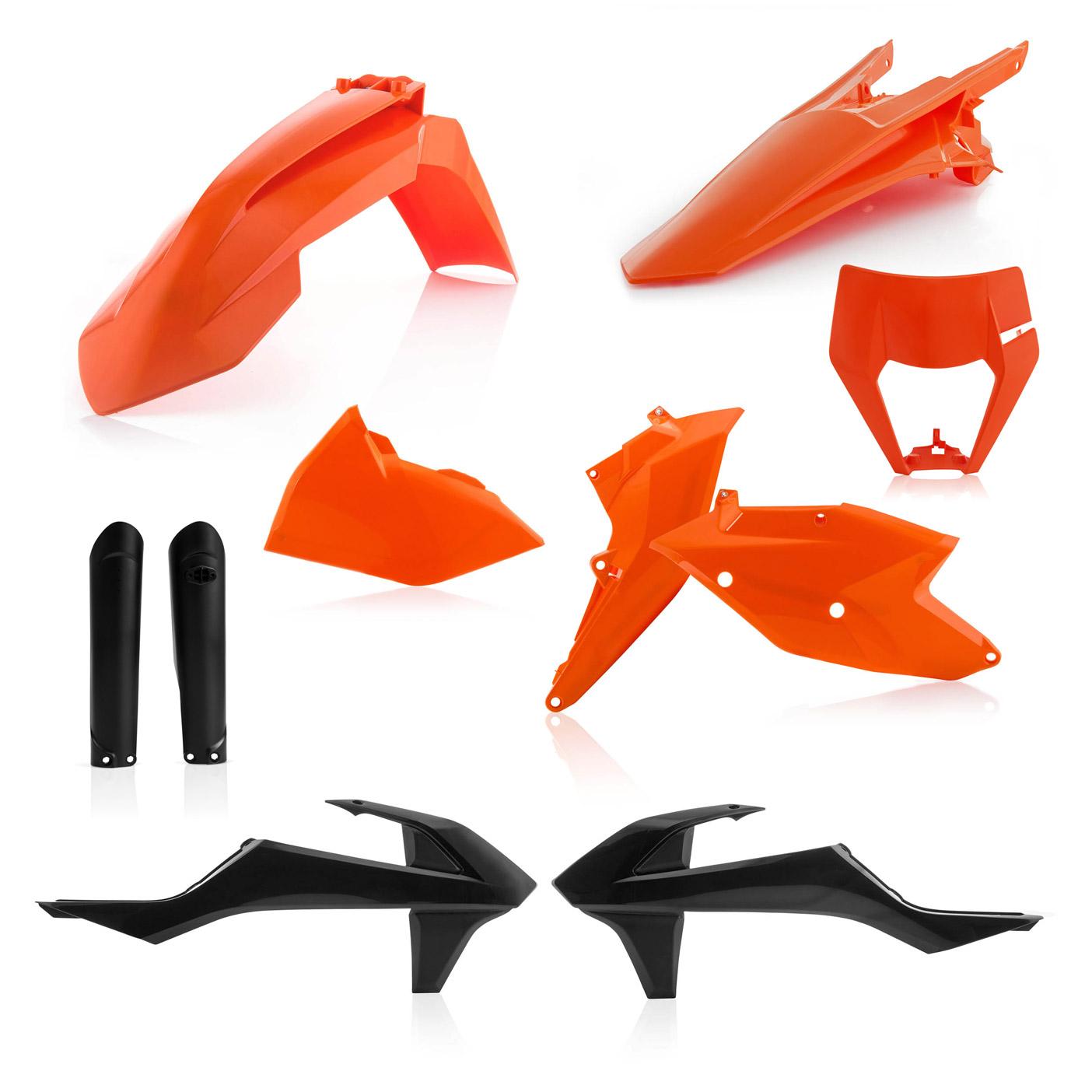 Plastikteile für deine KTM EXC und EXC-F in den OEM Farben von 2019, bestehend aus Frontkotflügel, Heckkotflügel, Tankspoiler, Gabelschoner, Nummerntafeln und Lampenmaske