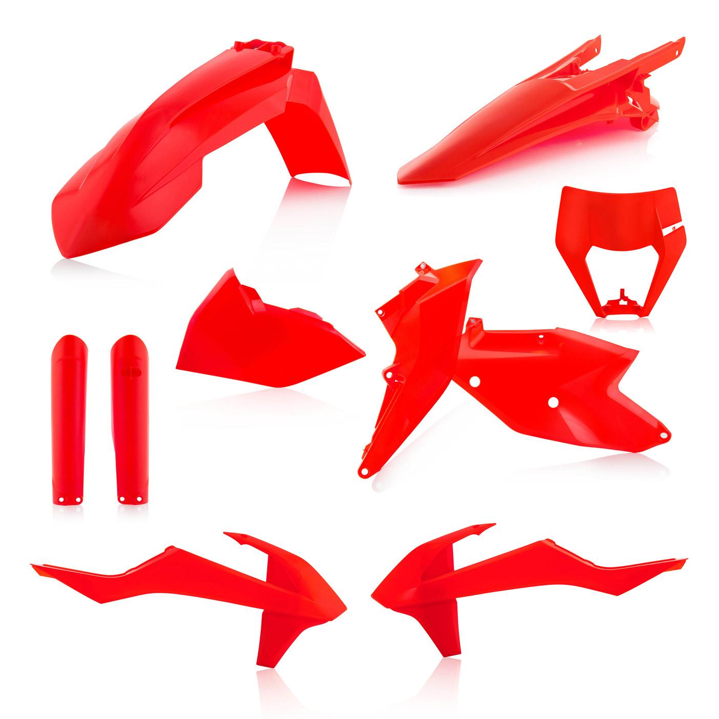 Plastikteile für deine KTM EXC und EXC-F in neon-orange, bestehend aus Frontkotflügel, Heckkotflügel, Tankspoiler, Gabelschoner, Nummerntafeln und Lampenmaske