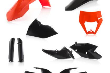 Plastikteile für deine KTM EXC und EXC-F in schwarz-orange, bestehend aus Frontkotflügel, Heckkotflügel, Tankspoiler, Gabelschoner, Nummerntafeln und Lampenmaske