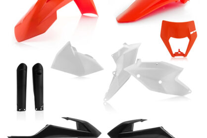 Plastikteile für deine KTM EXC und EXC-F in den OEM Farben von 2018, bestehend aus Frontkotflügel, Heckkotflügel, Tankspoiler, Gabelschoner, Nummerntafeln und Lampenmaske