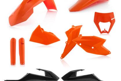 Plastikteile für deine KTM EXC und EXC-F in den OEM Farben von 2017, bestehend aus Frontkotflügel, Heckkotflügel, Tankspoiler, Gabelschoner, Nummerntafeln und Lampenmaske