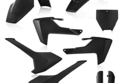 Plastikteile für deine Husqvarna TC65 in schwarz, bestehend aus Frontkotflügel, Heckkotflügel, Tankspoiler, Seitenteilen, Lampenmaske und Gabelschoner