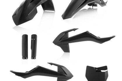 Plastikteile für deine KTM SX65 in schwarz, bestehend aus Frontkotflügel, Heckkotflügel mit Nummerntafeln, Tankspoiler, Gabelschoner und Front-Nummerntafel