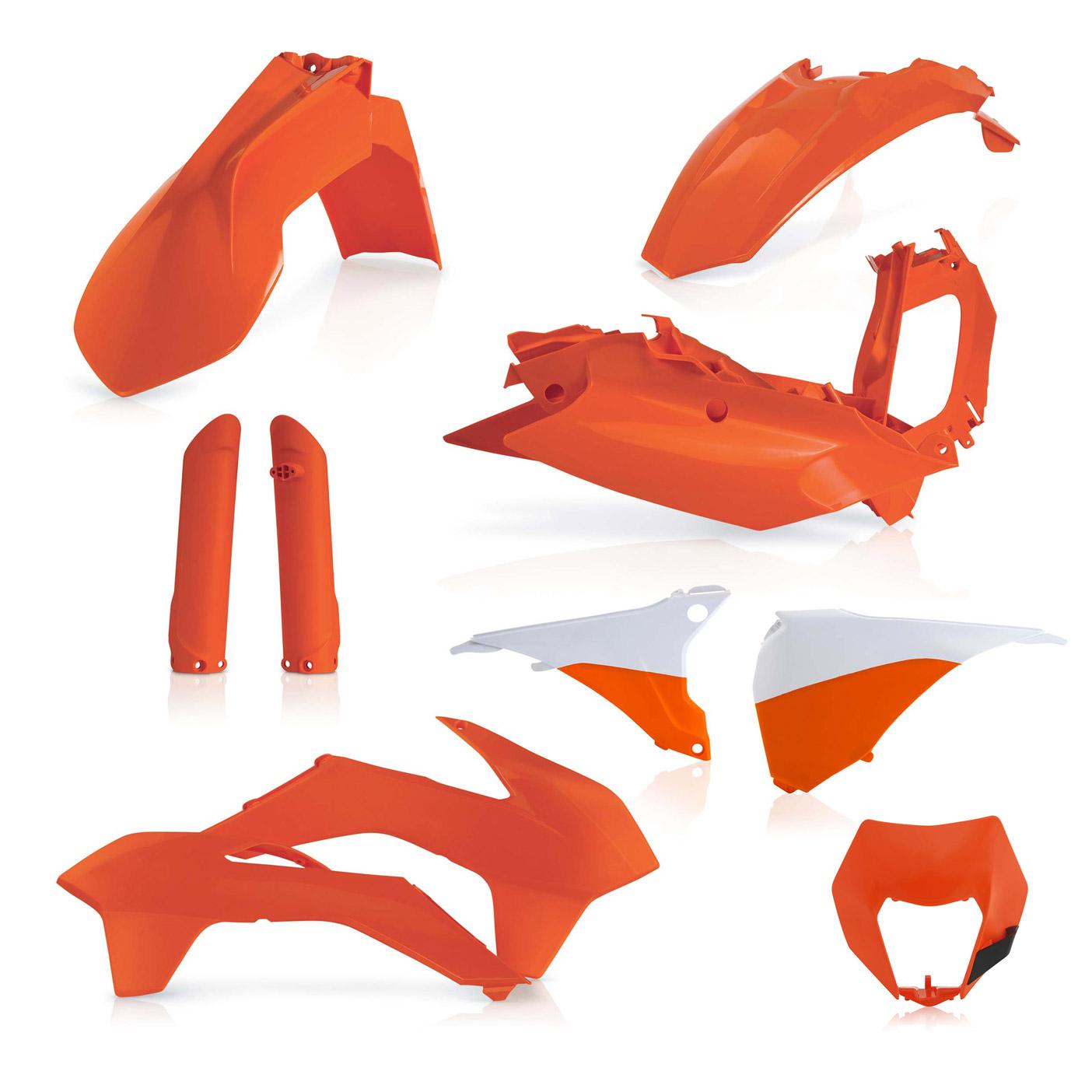 Plastikteile für deine KTM EXC und EXC-F in orange, bestehend aus Frontkotflügel, Heckkotflügel, Tankspoiler, Gabelschoner, Nummerntafeln, Seitenteilen und Lampenmaske