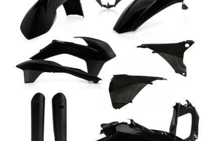 Plastikteile für deine KTM EXC und EXC-F in schwarz, bestehend aus Frontkotflügel, Heckkotflügel, Tankspoiler, Gabelschoner, Nummerntafeln, Seitenteilen und Lampenmaske