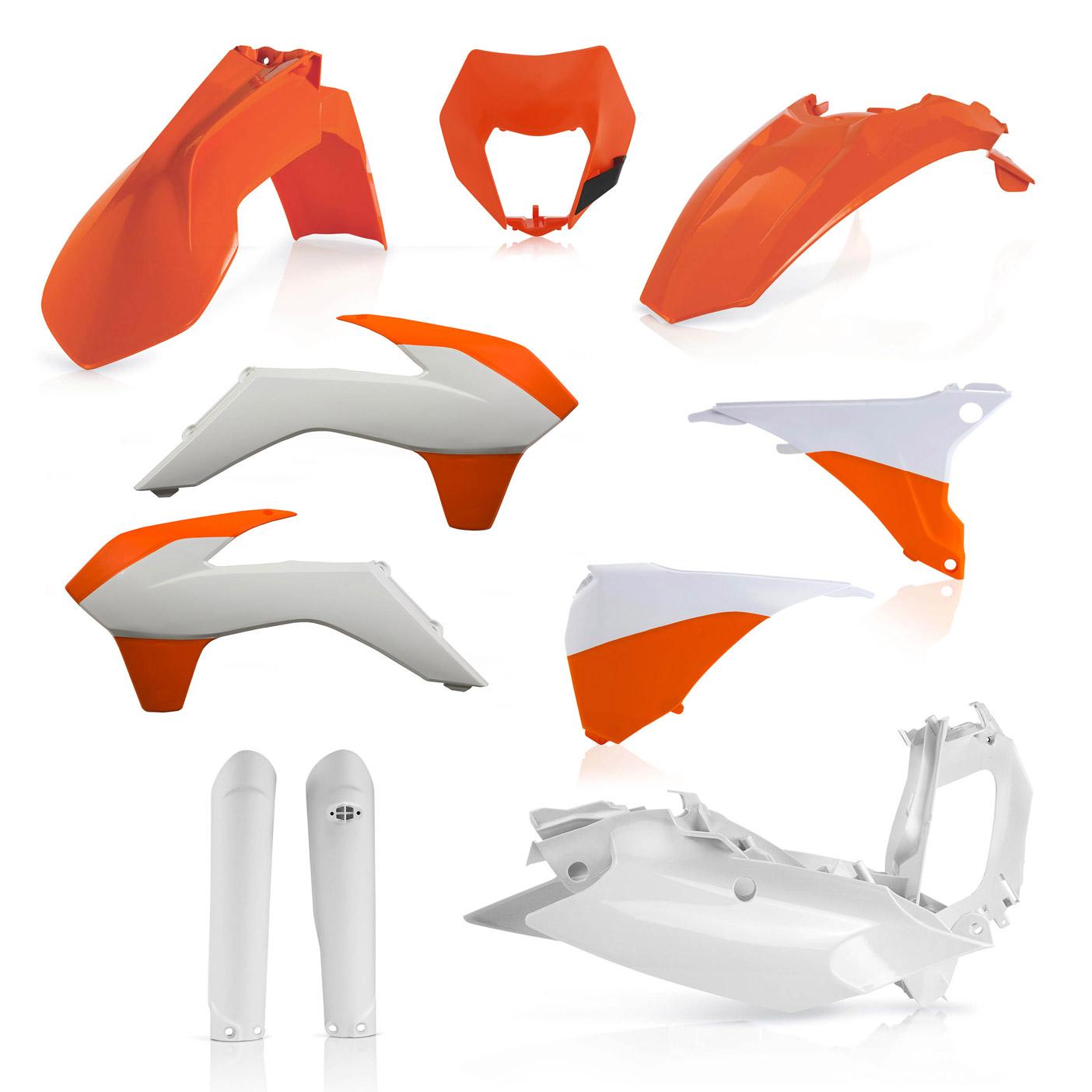 Plastikteile für deine KTM EXC und EXC-F in orange-weiß, bestehend aus Frontkotflügel, Heckkotflügel, Tankspoiler, Gabelschoner, Nummerntafeln, Seitenteilen und Lampenmaske