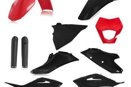 Plastikteile für deine GASGAS EC und EC-F in rot-schwarz, bestehend aus Frontkotflügel, Heckkotflügel, Tankspoiler, Gabelschoner, Nummerntafeln und Lampenmaske