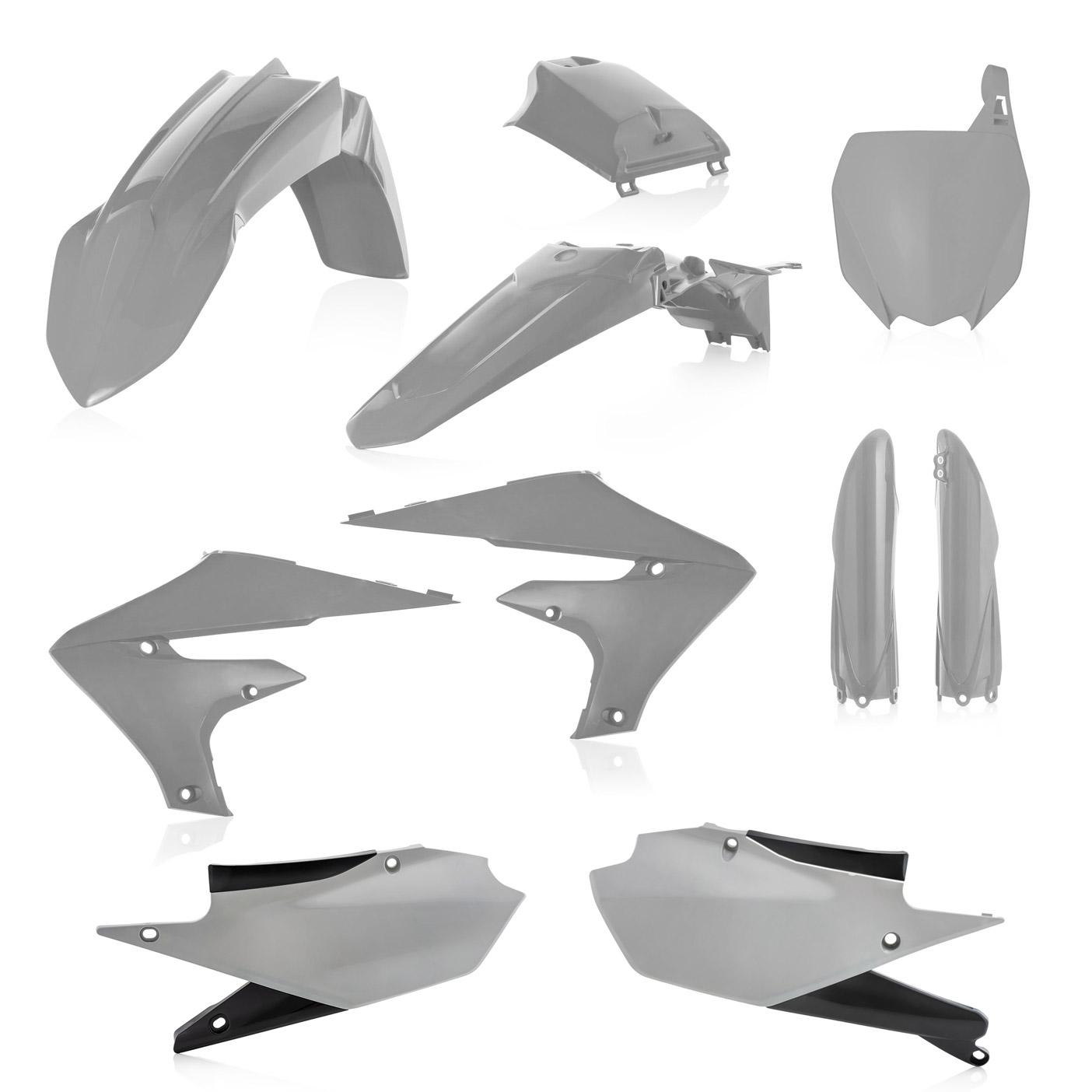 Plastikteile für deine Yamaha YZF in grau, bestehend aus Frontkotflügel, Heckkotflügel, Tankspoiler, Gabelschoner, Luftfilterabdeckung, Nummerntafeln und Front-Tafel