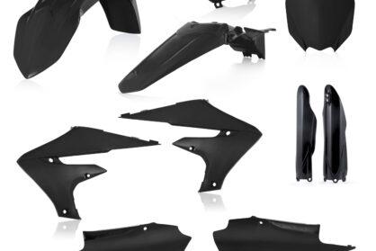 Plastikteile für deine Yamaha YZF in schwarz, bestehend aus Frontkotflügel, Heckkotflügel, Tankspoiler, Gabelschoner, Luftfilterabdeckung, Nummerntafeln und Front-Tafel