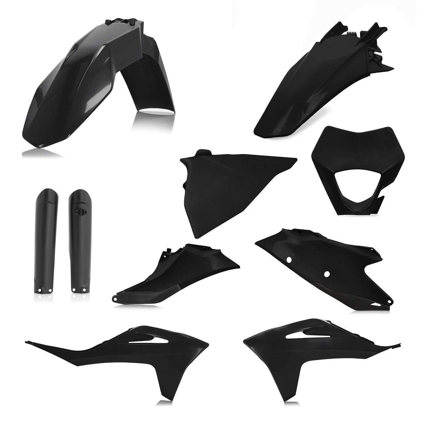 Plastikteile für deine GASGAS EC und EC-F in schwarz, bestehend aus Frontkotflügel, Heckkotflügel, Tankspoiler, Gabelschoner, Nummerntafeln und Lampenmaske