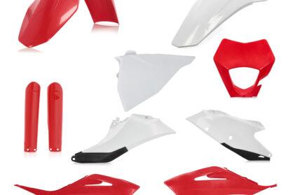 Plastikteile für deine GASGAS EC und EC-F in rot-weiß, bestehend aus Frontkotflügel, Heckkotflügel, Tankspoiler, Gabelschoner, Nummerntafeln und Lampenmaske