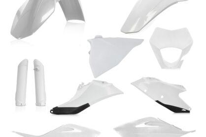 Plastikteile für deine GASGAS EC und EC-F in weiß, bestehend aus Frontkotflügel, Heckkotflügel, Tankspoiler, Gabelschoner, Nummerntafeln und Lampenmaske