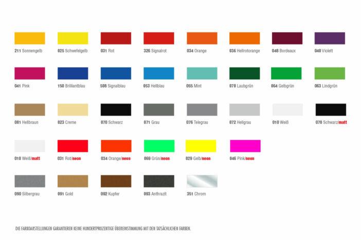 Übersicht der Farben für deinen Aufkleber