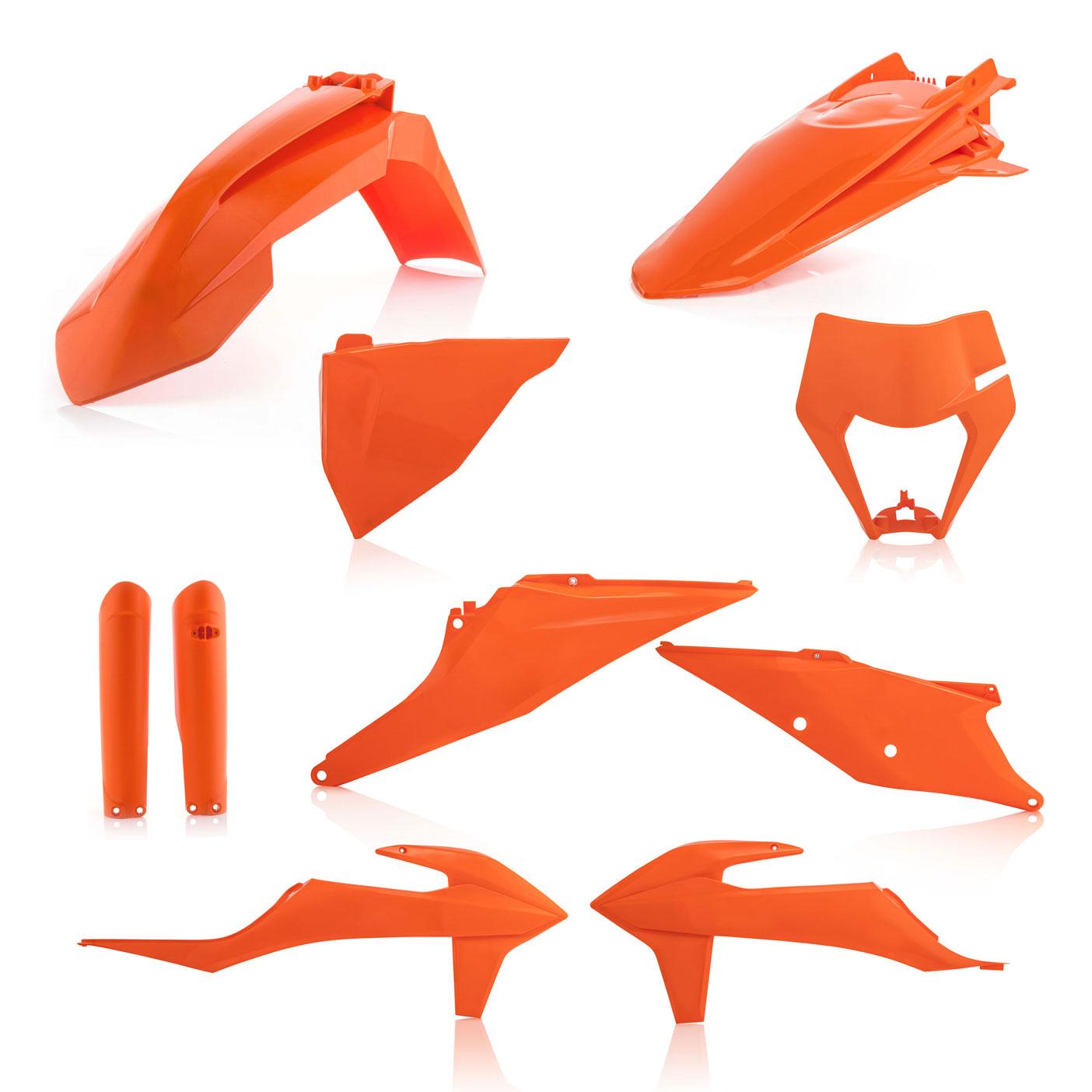 Plastikteile für deine KTM EXC und EXC-F in orange, bestehend aus Frontkotflügel, Heckkotflügel, Tankspoiler, Gabelschoner, Nummerntafeln und Lampenmaske