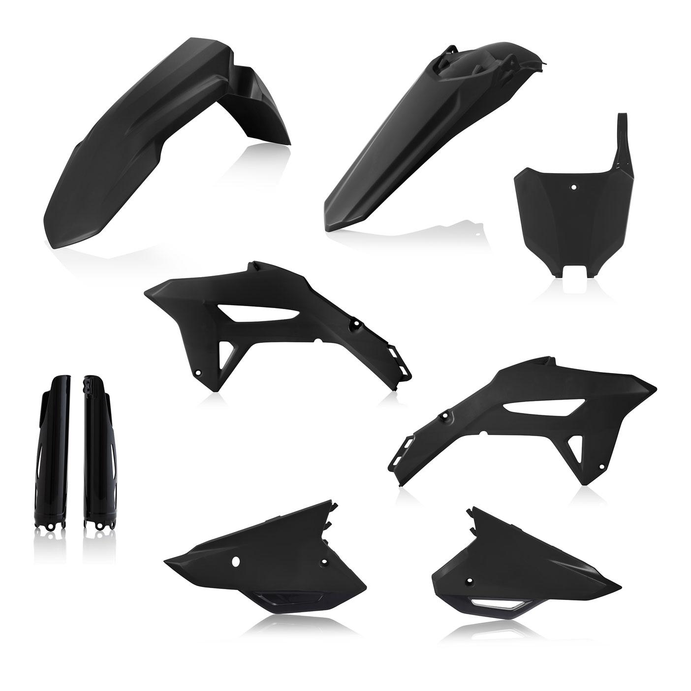 Plastikteile für deine Honda CRF in schwarz, bestehend aus Frontkotflügel, Heckkotflügel, Tankspoiler, Gabelschoner und Nummerntafeln