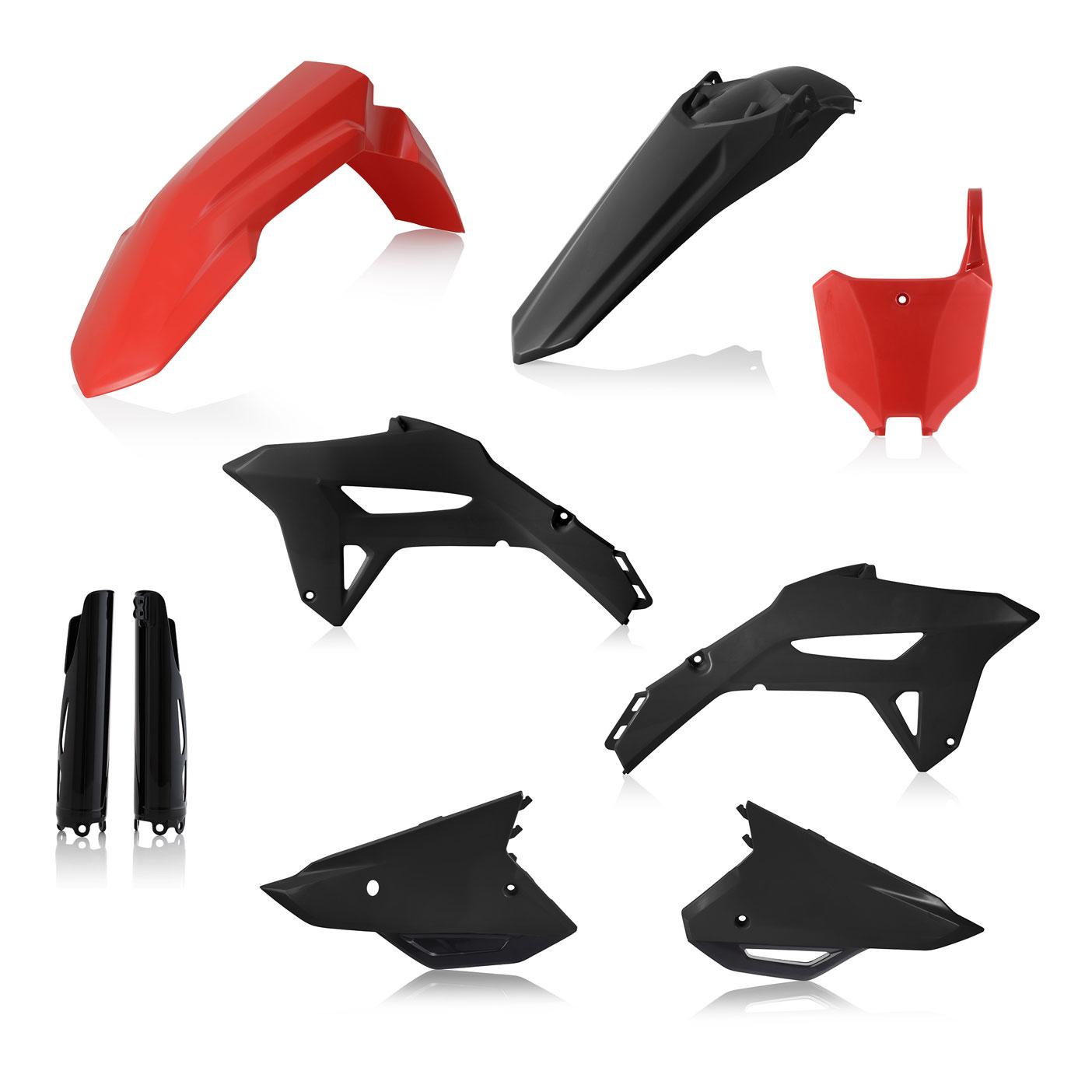 Plastikteile für deine Honda CRF in schwarz-rot, bestehend aus Frontkotflügel, Heckkotflügel, Tankspoiler, Gabelschoner und Nummerntafeln