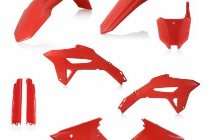 Plastikteile für deine Honda CRF in rot, bestehend aus Frontkotflügel, Heckkotflügel, Tankspoiler, Gabelschoner und Nummerntafeln