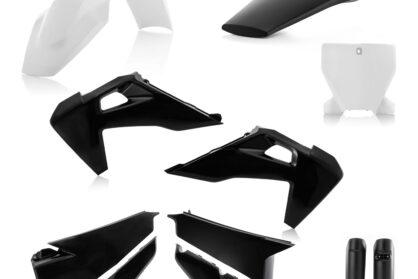 Plastikteile für deine Husqvarna FC und TC in schwarz-weiß, bestehend aus Frontkotflügel, Heckkotflügel, Tankspoiler, Seitenteilen, Front-Tafel und Gabelschoner